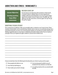 Addiction and Stress – Worksheet 2 (COD)