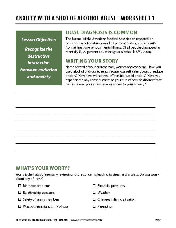 Anxiety with a Shot of Alcohol Abuse - Worksheet 1 (COD)