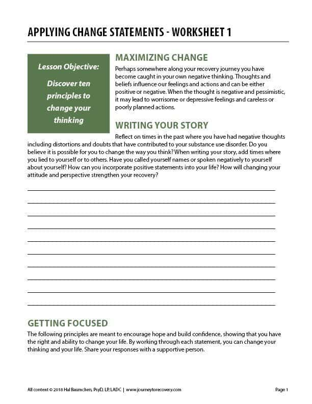 Applying Change Statements - Worksheet 1 (COD)