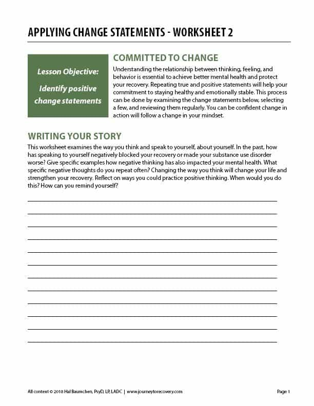 Applying Change Statements - Worksheet 2 (COD)