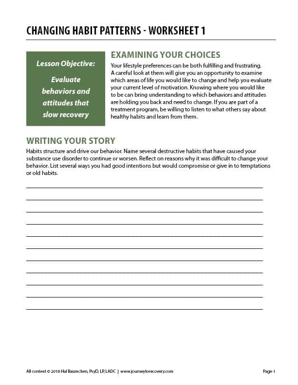 Changing Habit Patterns - Worksheet 1 (COD)