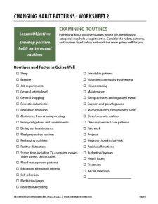 Changing Habit Patterns – Worksheet 2 (COD)