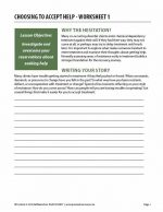 Choosing to Accept Help – Worksheet 1 (COD)