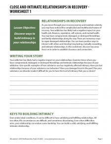 Close and Intimate Relationships in Recovery – Worksheet 1 (COD)