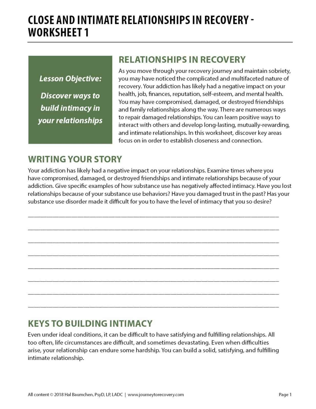 Close and Intimate Relationships in Recovery - Worksheet 1 (COD)