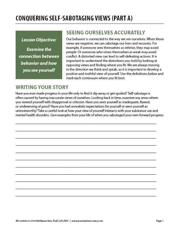 Conquering Self-Sabotaging Views - Part A (COD Worksheet)