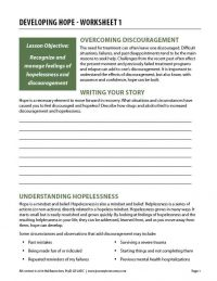 Developing Hope – Worksheet 1 (COD)