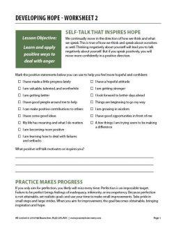 Developing Hope – Worksheet 2 (COD)
