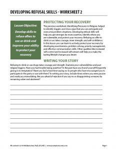 Developing Refusal Skills – Worksheet 2 (COD)