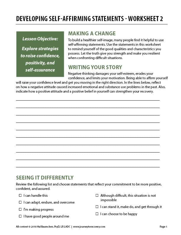 Developing Self-Affirming Statements - Worksheet 2 (COD)