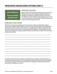 Developing Your Recovery Attitude – Part A (COD Worksheet)
