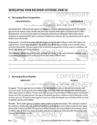 Developing Your Recovery Attitude – Part B (COD Worksheet)