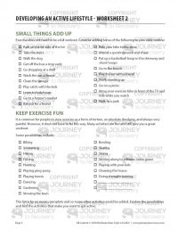 Developing an Active Lifestyle – Worksheet 2 (COD)