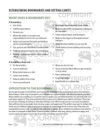Establishing Boundaries and Setting Limits (COD Worksheet)