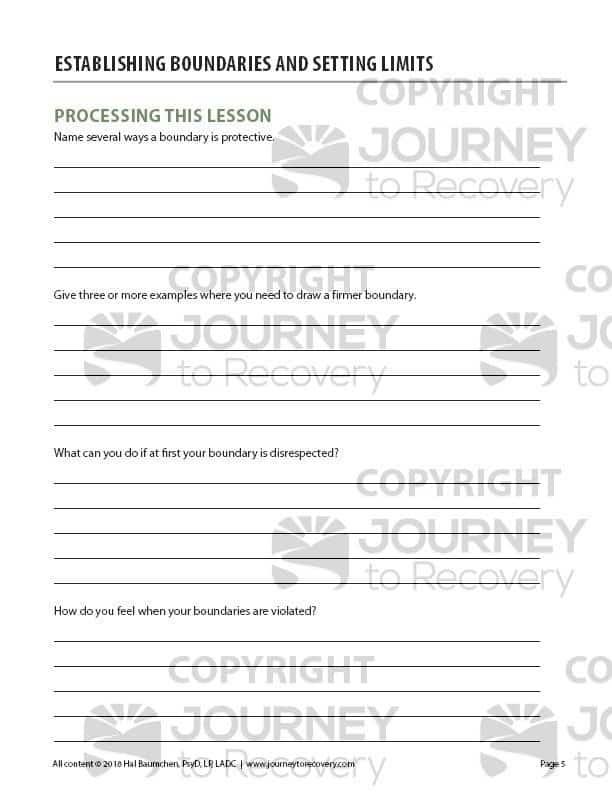 Establishing Boundaries and Setting Limits (COD Worksheet