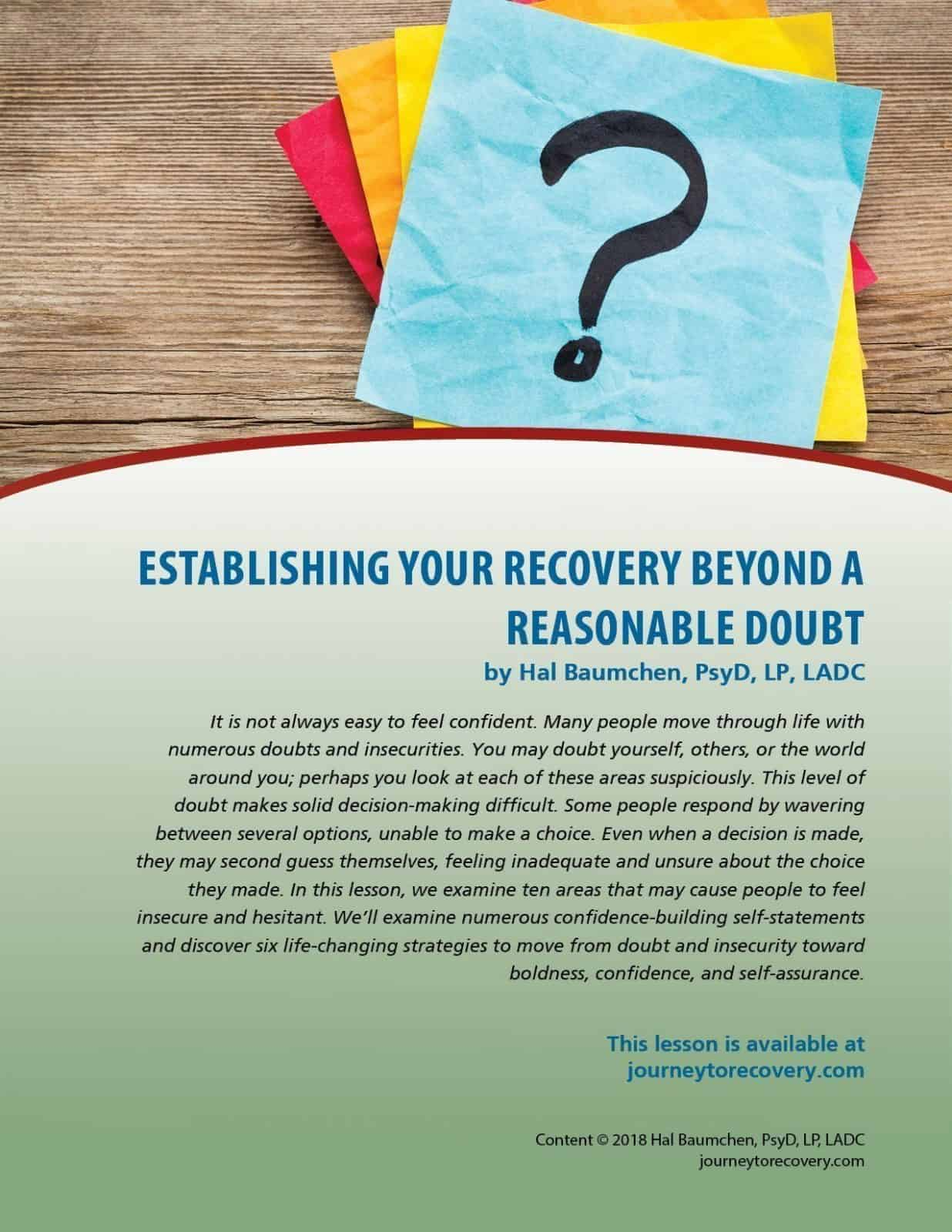 Establishing Your Recovery Beyond a Reasonable Doubt (COD Lesson)