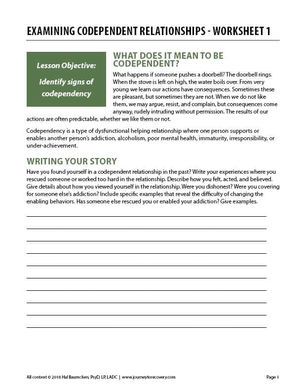Examining Codependent Relationships - Worksheet 1 (COD)
