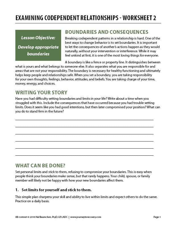 Examining Codependent Relationships – Worksheet 2 (COD)
