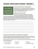 Examining Common Anxiety Disorders – Worksheet 1 (COD)