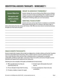 Identifying Anxious Thoughts – Worksheet 1 (COD)