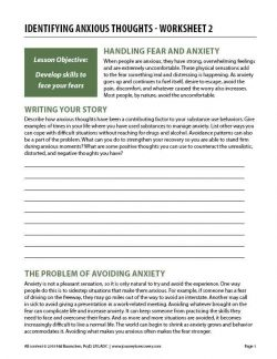 Identifying Anxious Thoughts – Worksheet 2 (COD)
