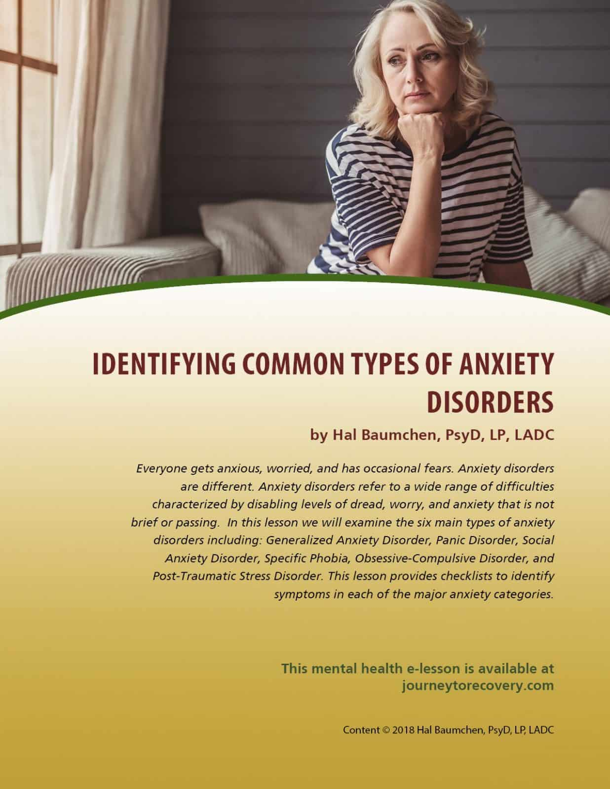 Identifying Common Types of Anxiety Disorders (MH Lesson ...