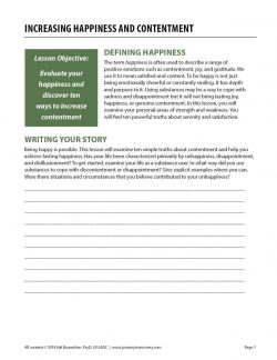 Increasing Happiness and Contentment (COD Worksheet)