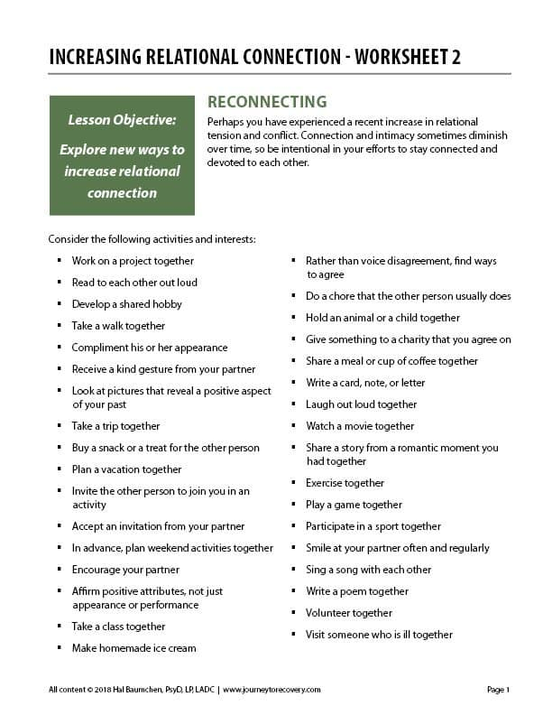 Increasing Relational Connection - Worksheet 2 (COD)