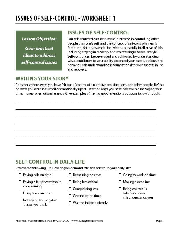Issues of Self-Control - Worksheet 1 (COD)