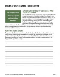 Issues of Self-Control – Worksheet 2 (COD)