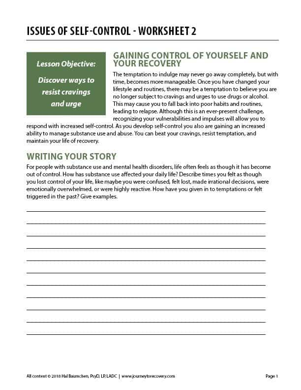 Issues of Self-Control - Worksheet 2 (COD)