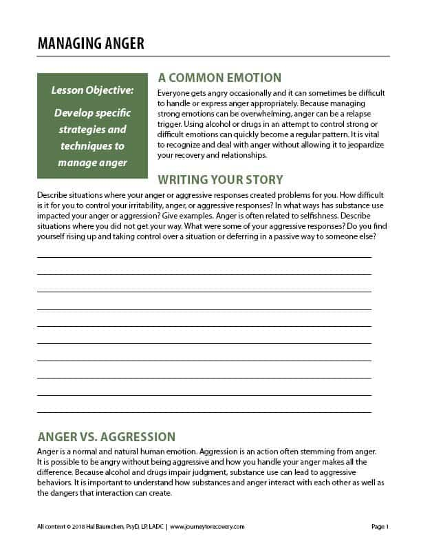 Managing Anger (COD Worksheet)