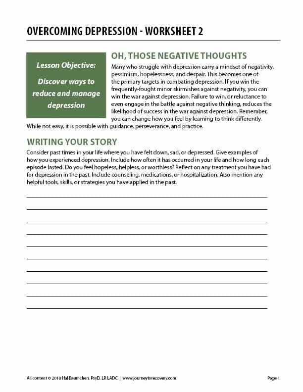 Overcoming Depression - Worksheet 2 (COD)