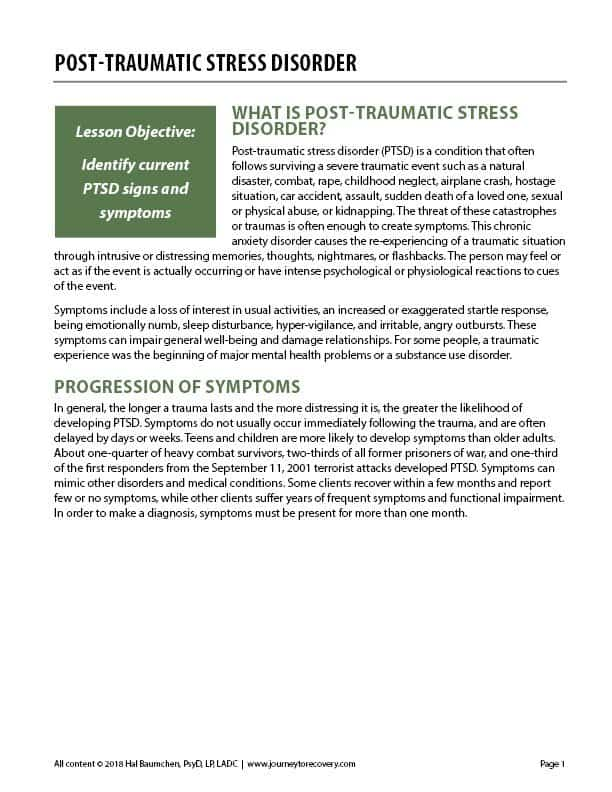 Post-Traumatic Stress Disorder (COD Worksheet)