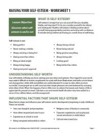 Raising Your Self-Esteem – Worksheet 1 (COD)