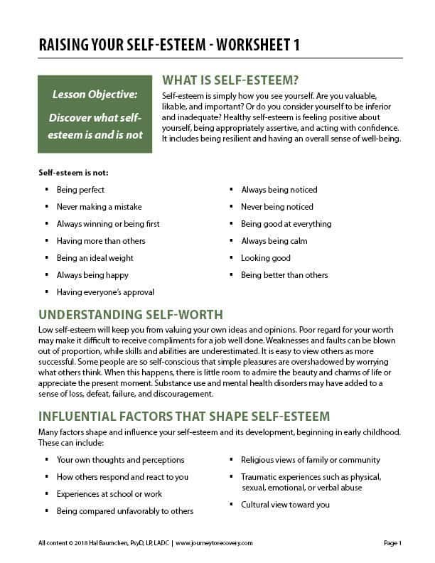 Raising Your Self Esteem Worksheet 1 Cod Journey To