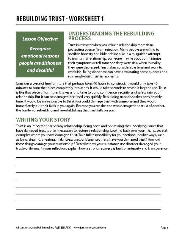 Rebuilding Trust – Worksheet 1 (COD Worksheet)