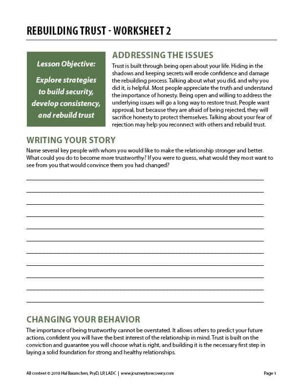 Rebuilding Trust – Worksheet 2 (COD Worksheet)