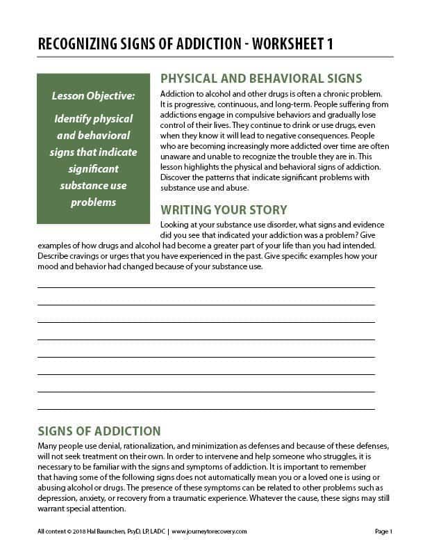 Recognizing Signs of Addiction - Worksheet 1 (COD)
