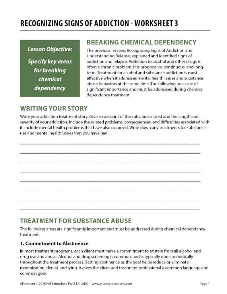 Recognizing Signs of Addiction - Worksheet 3 (COD)