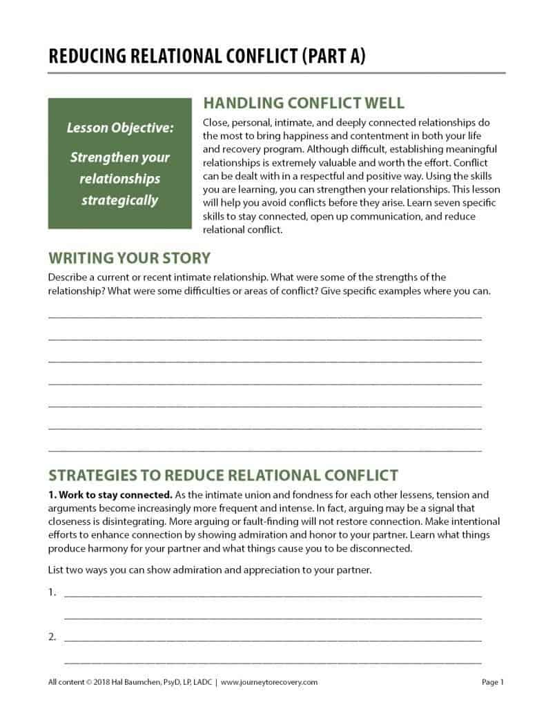 Reducing Relational Conflict - Part A (COD Worksheet)