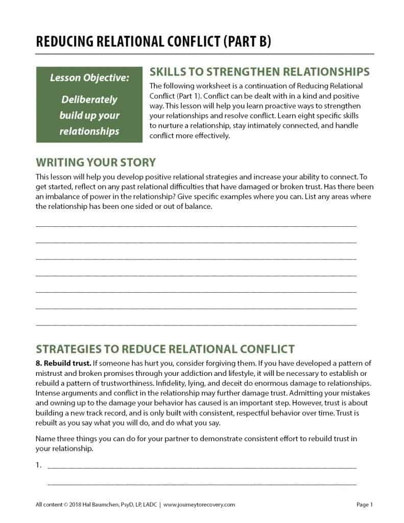 Reducing Relational Conflict - Part B (COD Worksheet)