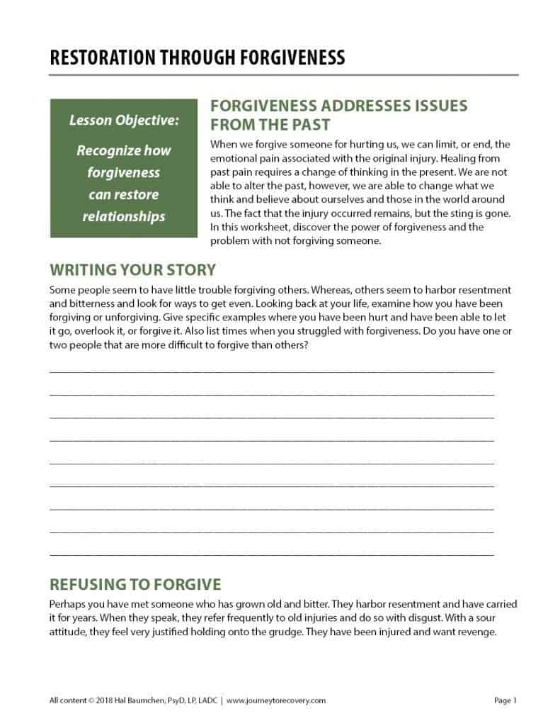 Restoration Through Forgiveness (COD Worksheet)