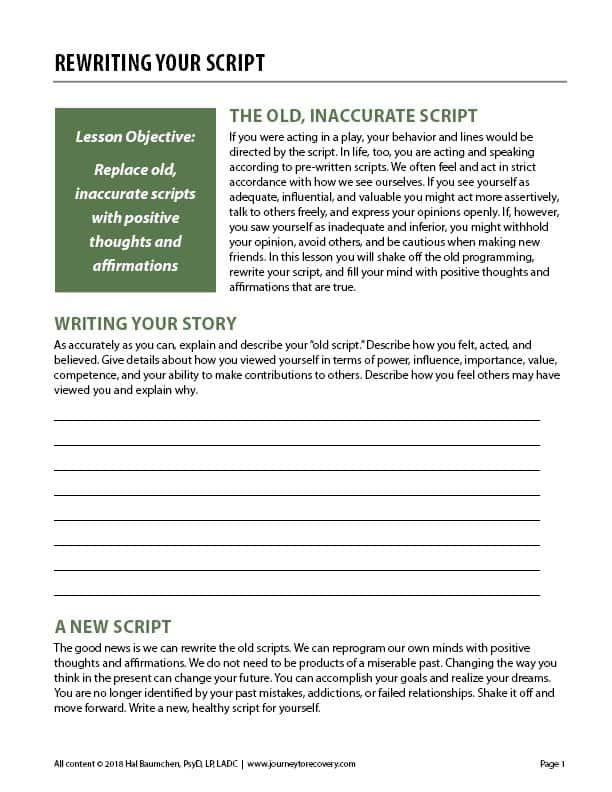 Rewriting Your Script (COD Worksheet)
