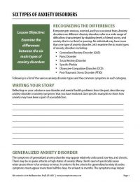 Six Types of Anxiety Disorders (COD Worksheet)