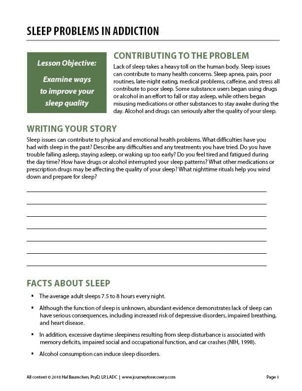 Sleep Problems in Addiction (COD Worksheet)