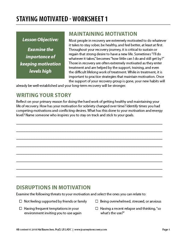 Staying Motivated - Worksheet 1 (COD)