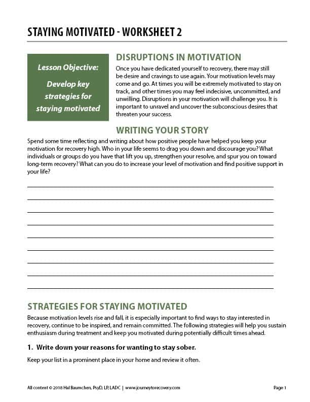 Staying Motivated - Worksheet 2 (COD)