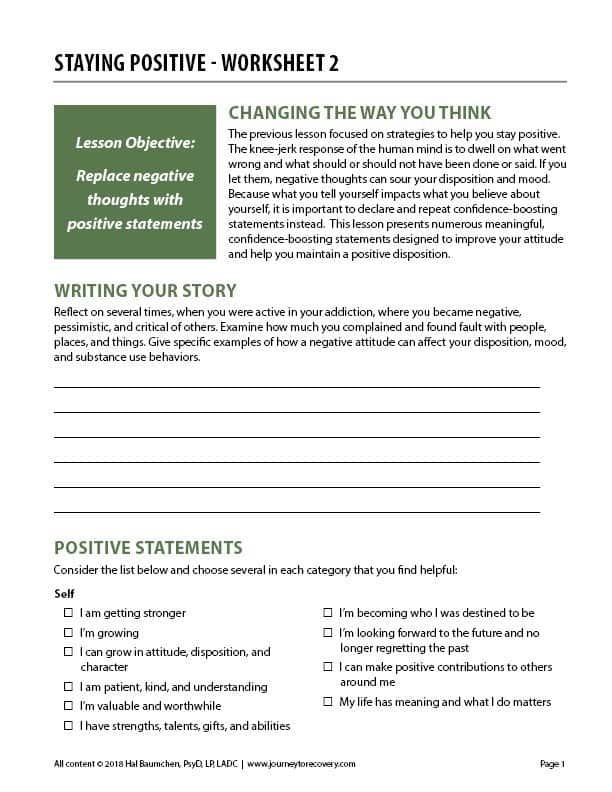 Staying Positive - Worksheet 2 (COD)