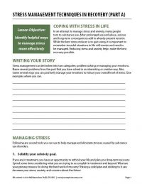 Stress Management Techniques in Recovery – Part A (COD Worksheet)